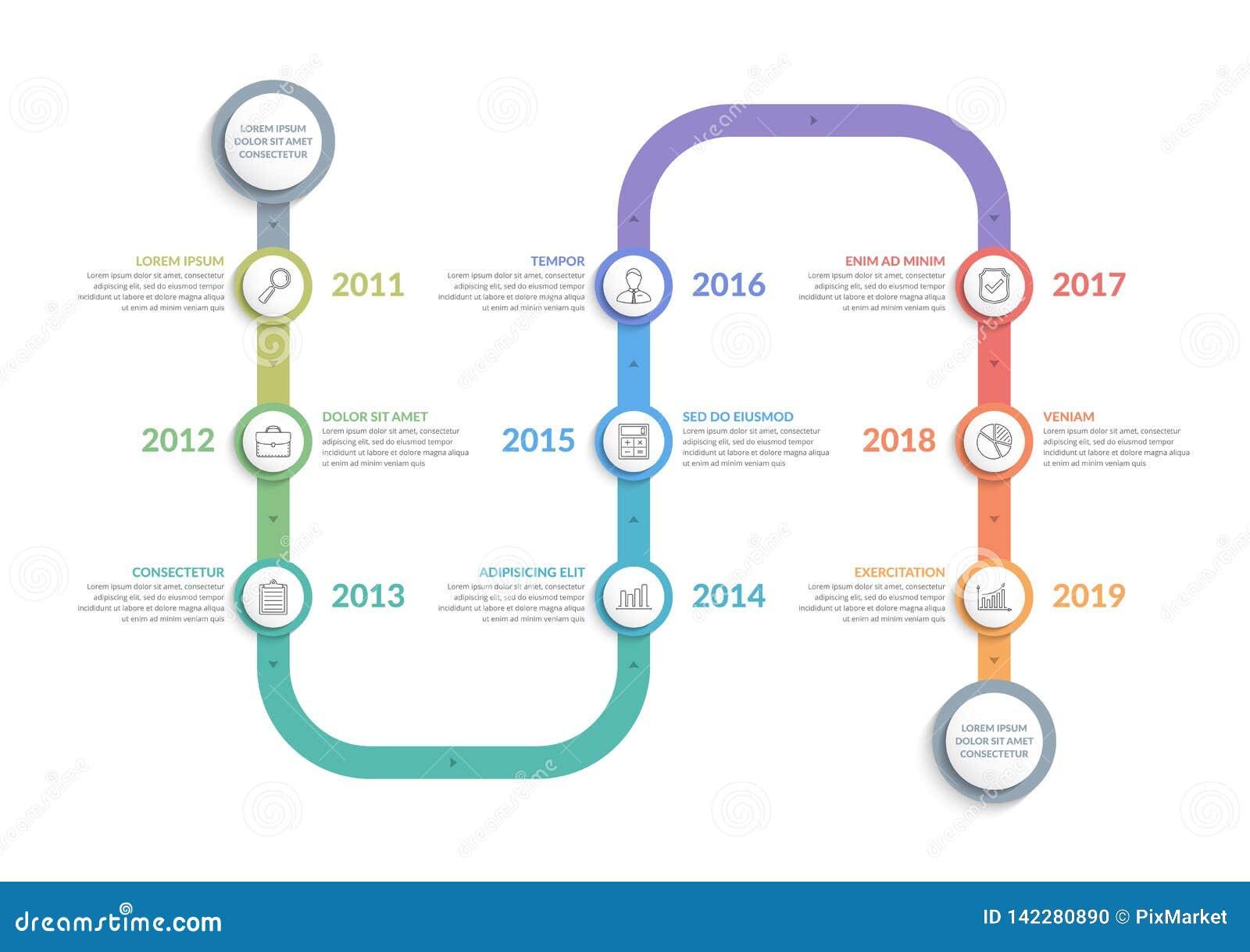 Vertical Timeline Template Stock Vector Illustration Of Flowchart 142280890