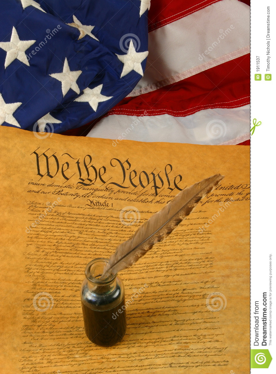 Vertical United States Constitution, Quill Pen in Inkwell, and Flag