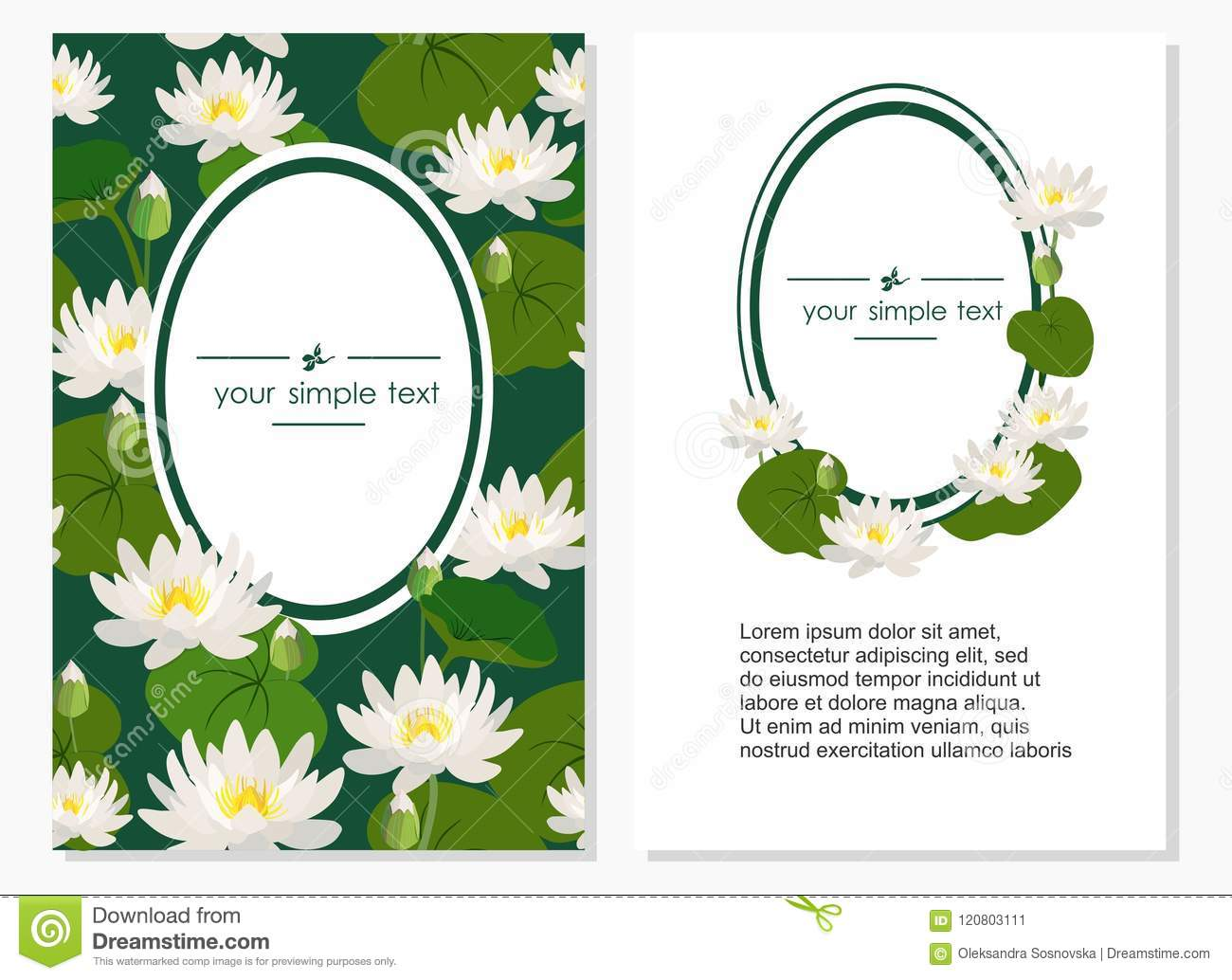 Design Of Banners With Flowers And Lotus Leaves Vector Illustration