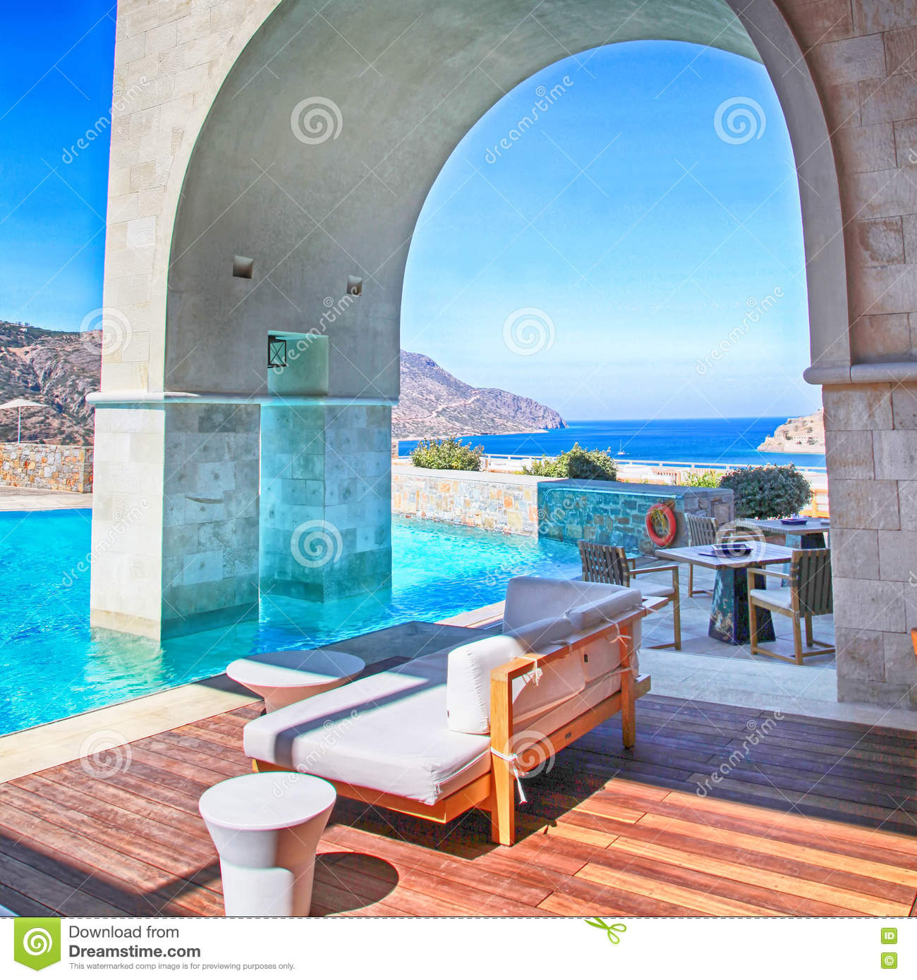 Mediterranean Style Houses With Ocean Views: Vertical View Of Arch Pool Terrace On Summer Resort Greece