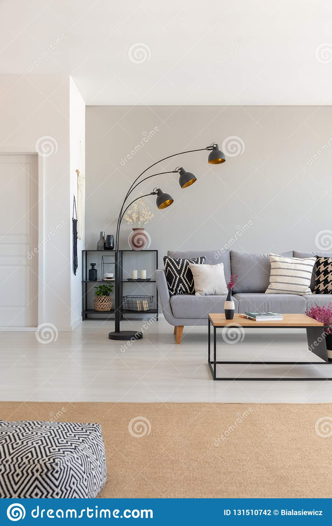 Living Room Interior Design With Metal Furniture, Grey