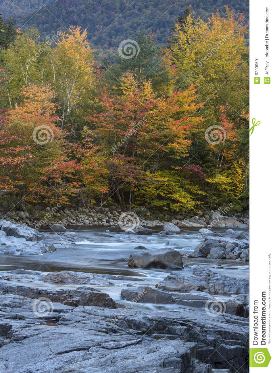 Rock And Swift Water In A New Hampshire River Stock Image