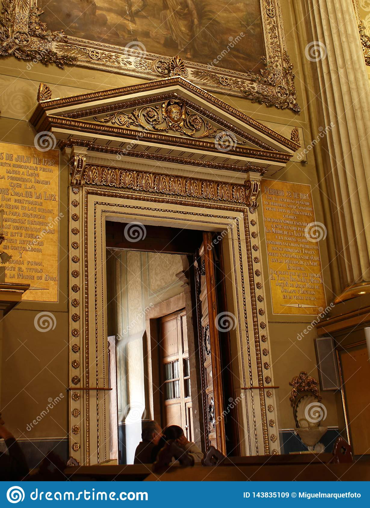 Golden door frame in Cathedral in Leon, Guanajuato