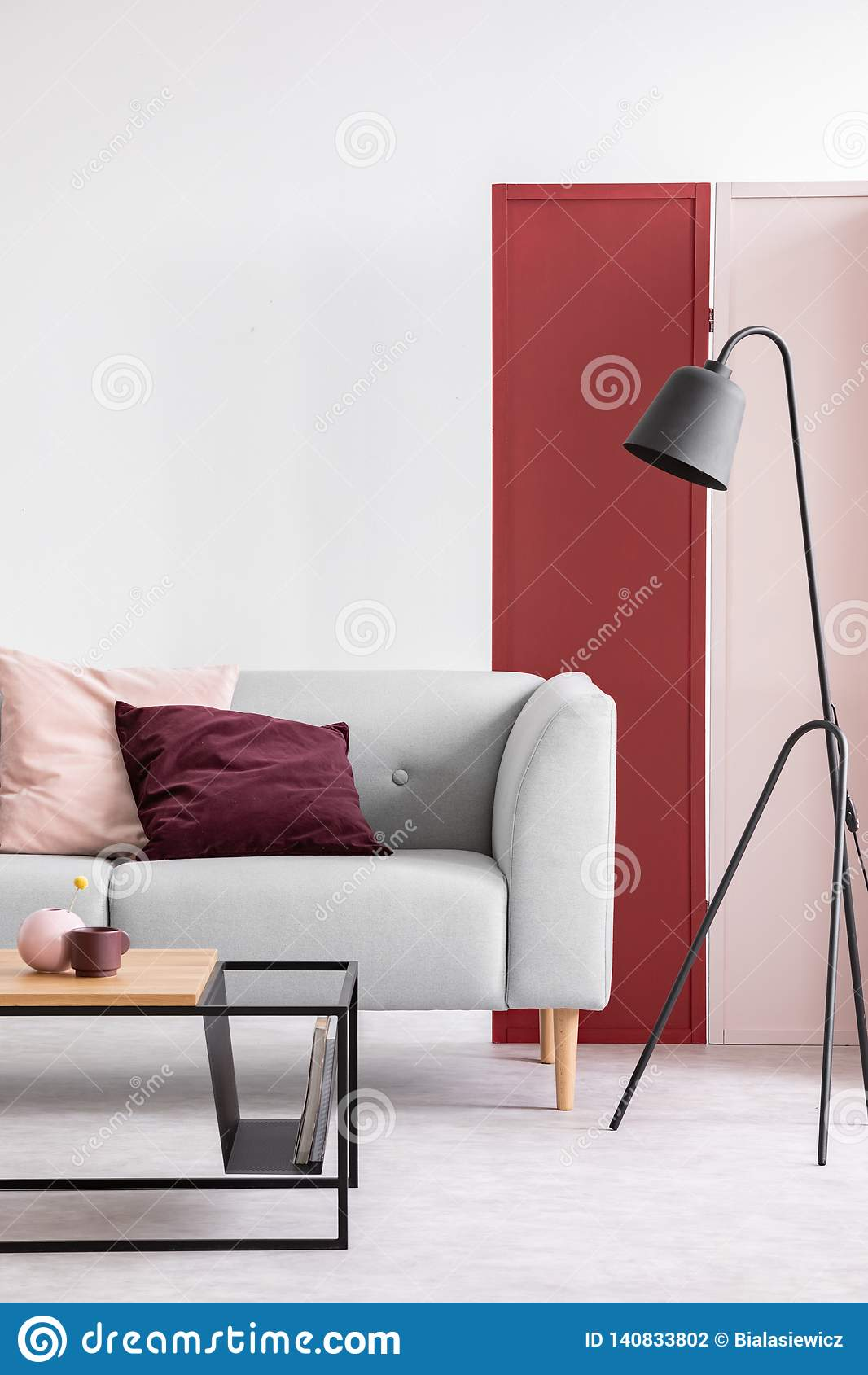 Vertical View Of Pastel Pink And Burgundy Pillows On Grey Sofa In Elegant Scandinavian Living Room With Red Pink And White Wall Stock Photo Image Of Mockup House 140833802
