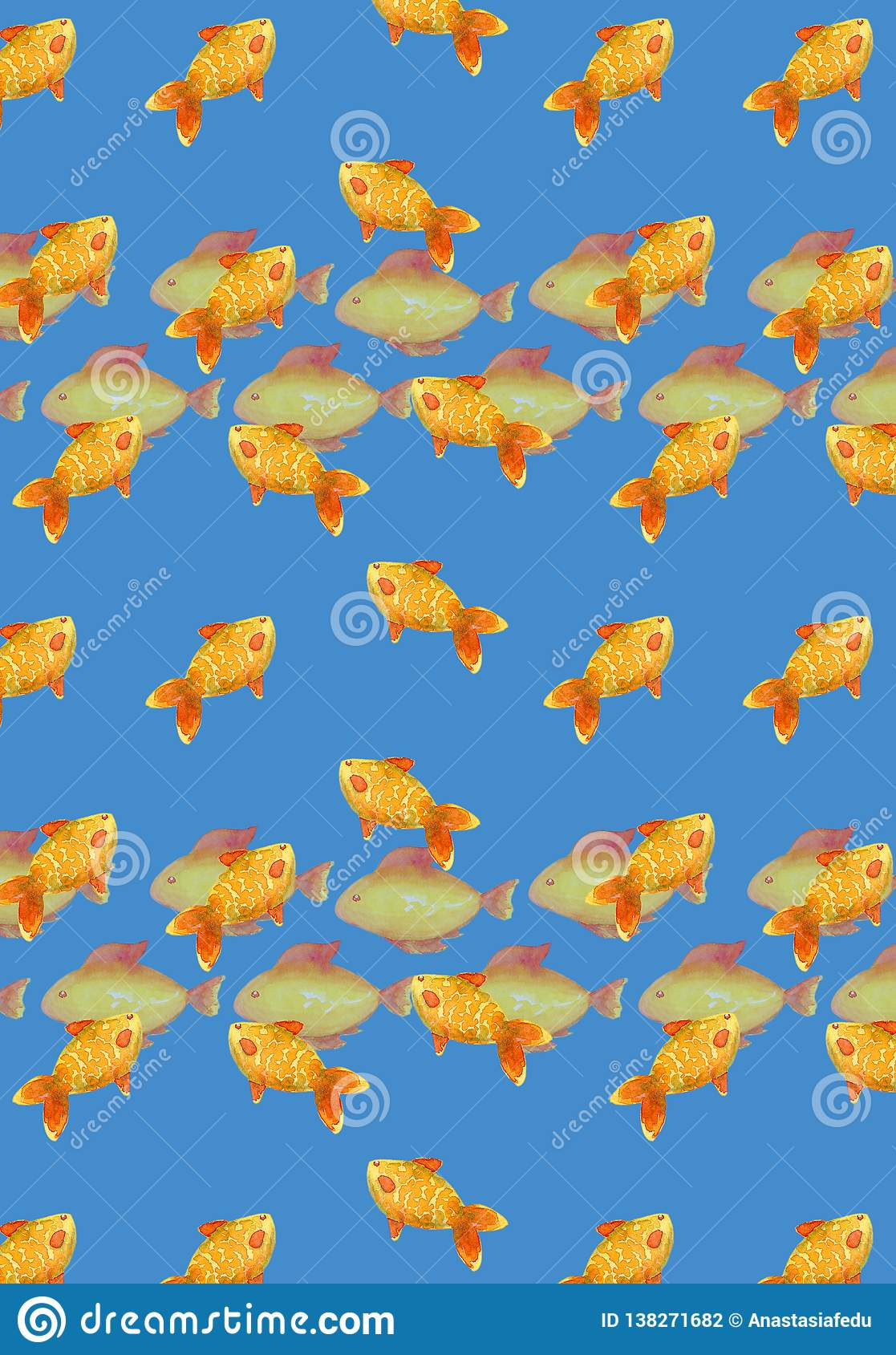 Vertical Wallpaper With Tropical Fish In A Watercolor Style