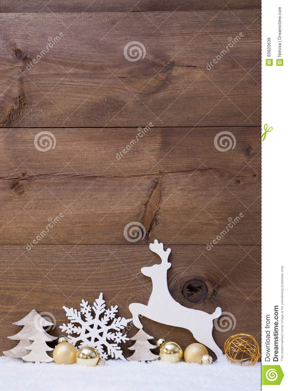 Vertical White Christmas Card With Copy Space On Snow