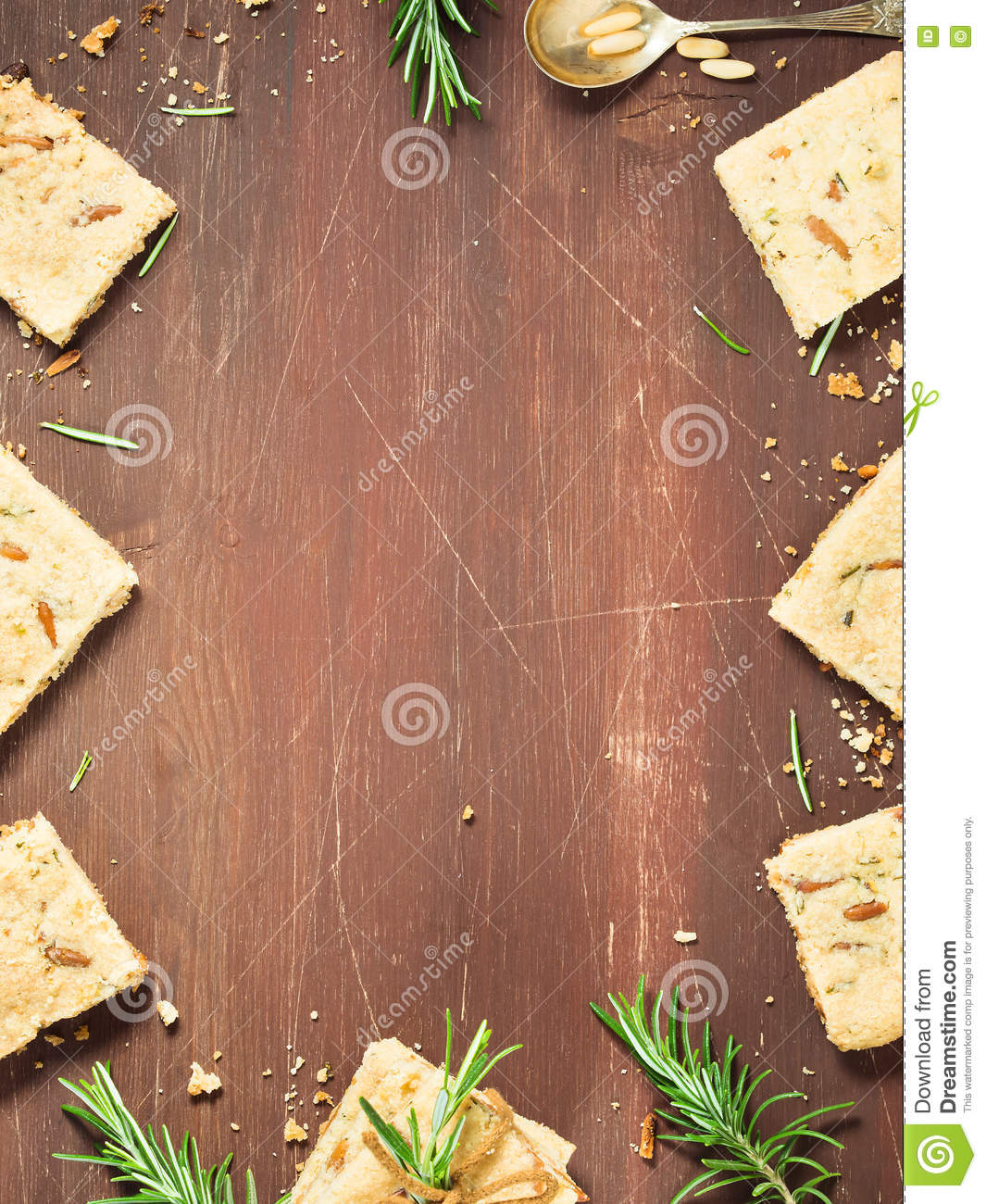 Vertical Wooden Background With Winter Cookies Stock Photo