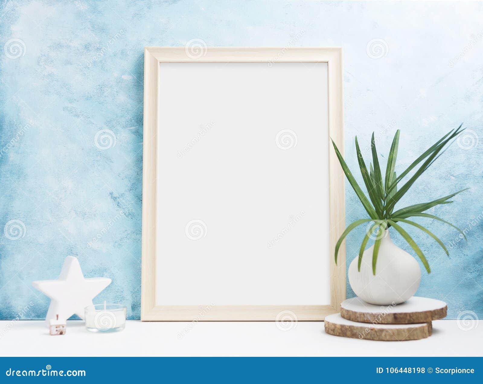 Vertical wooden Photo frame mock up with plants in vase, ceramic decor on shelf. Scandinavian style