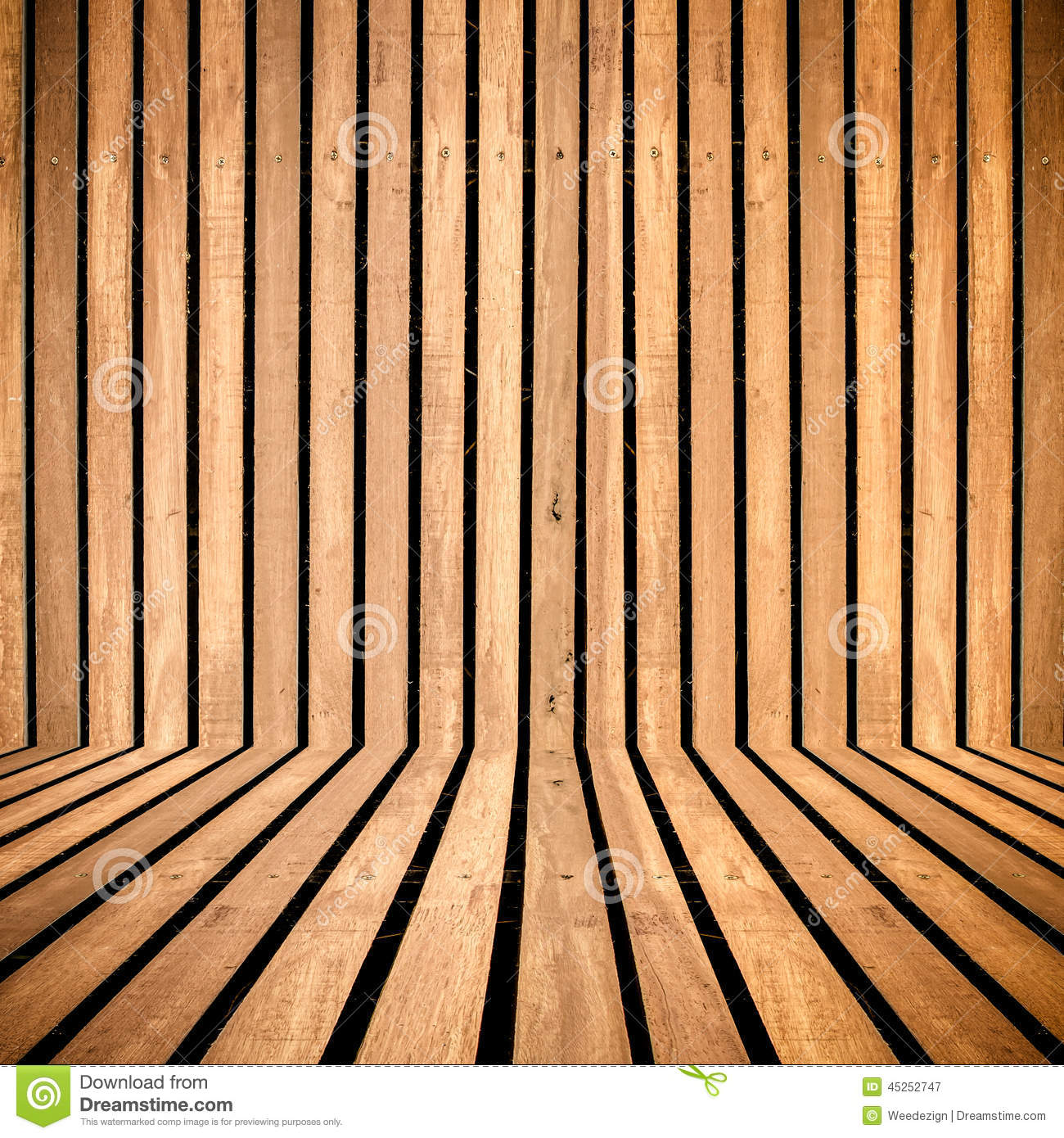 Vertical Wooden Strip Room Perspective Background Stock