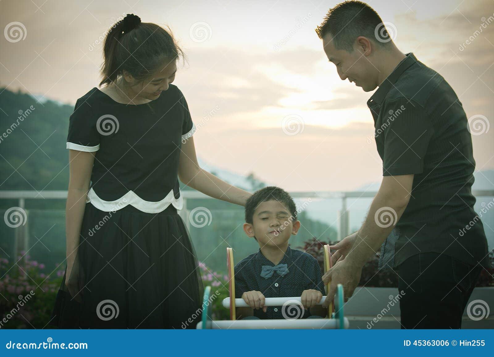 Verticale asiatique de famille