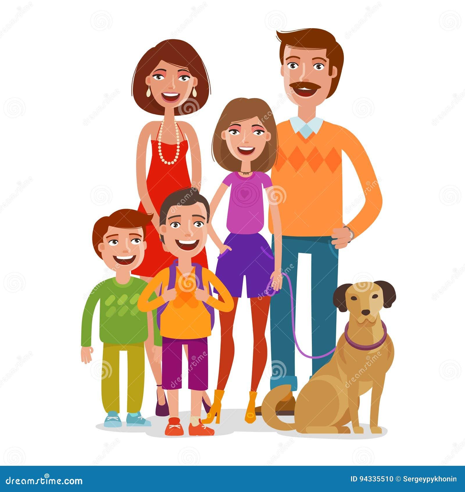 Verticale De Famille Personnes Heureuses, Enfants, Parents ...