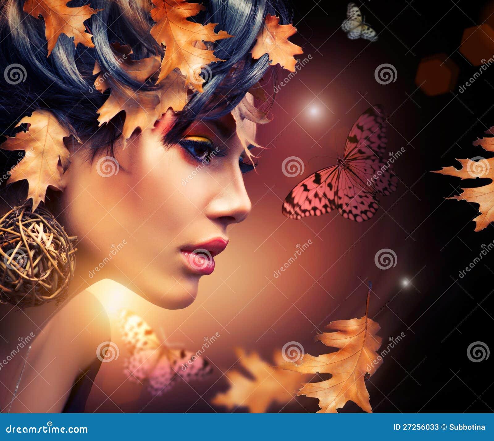 Verticale de femme d automne