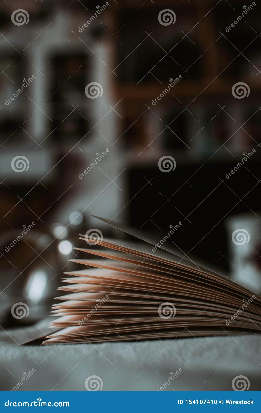 Verticale dicht omhoog geschoten van open boekpagina s met vage achtergrond