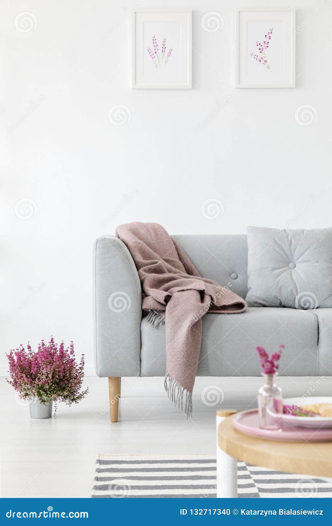 Verticale mening van comfortabele grijze laag in helder woonkamerbinnenland met heide in pot en grafiek i