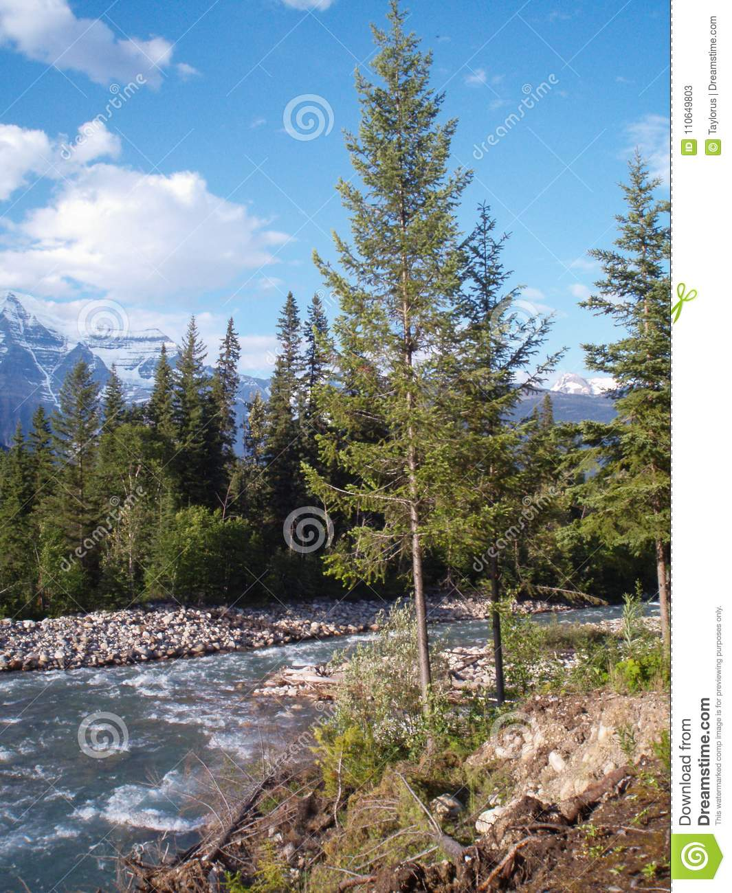 Vertically exposed scenic mountain view from the river bank in M