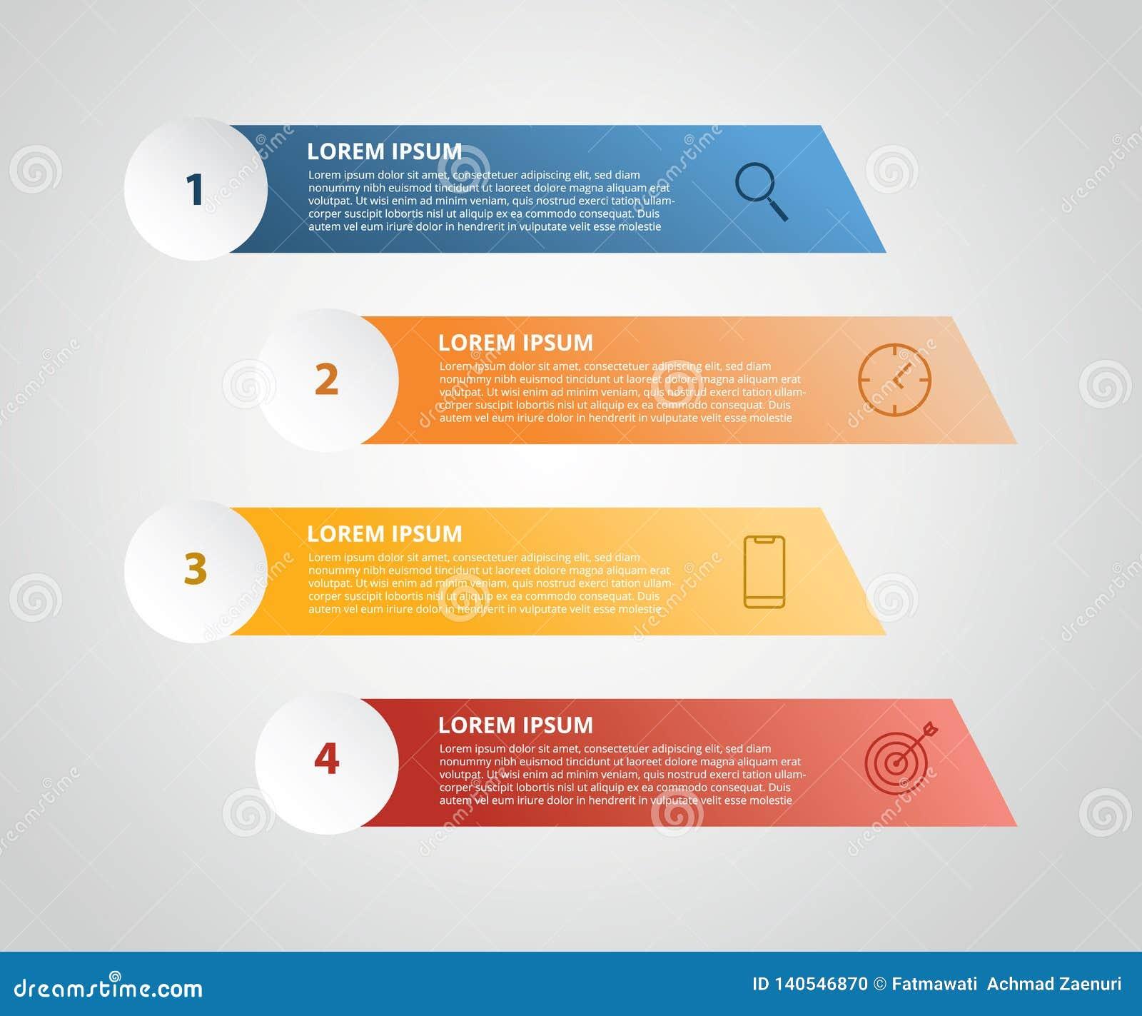 Vertikal etikett som är infographic med moment 4 med symbolen för affärsprocessen - vektorillustration