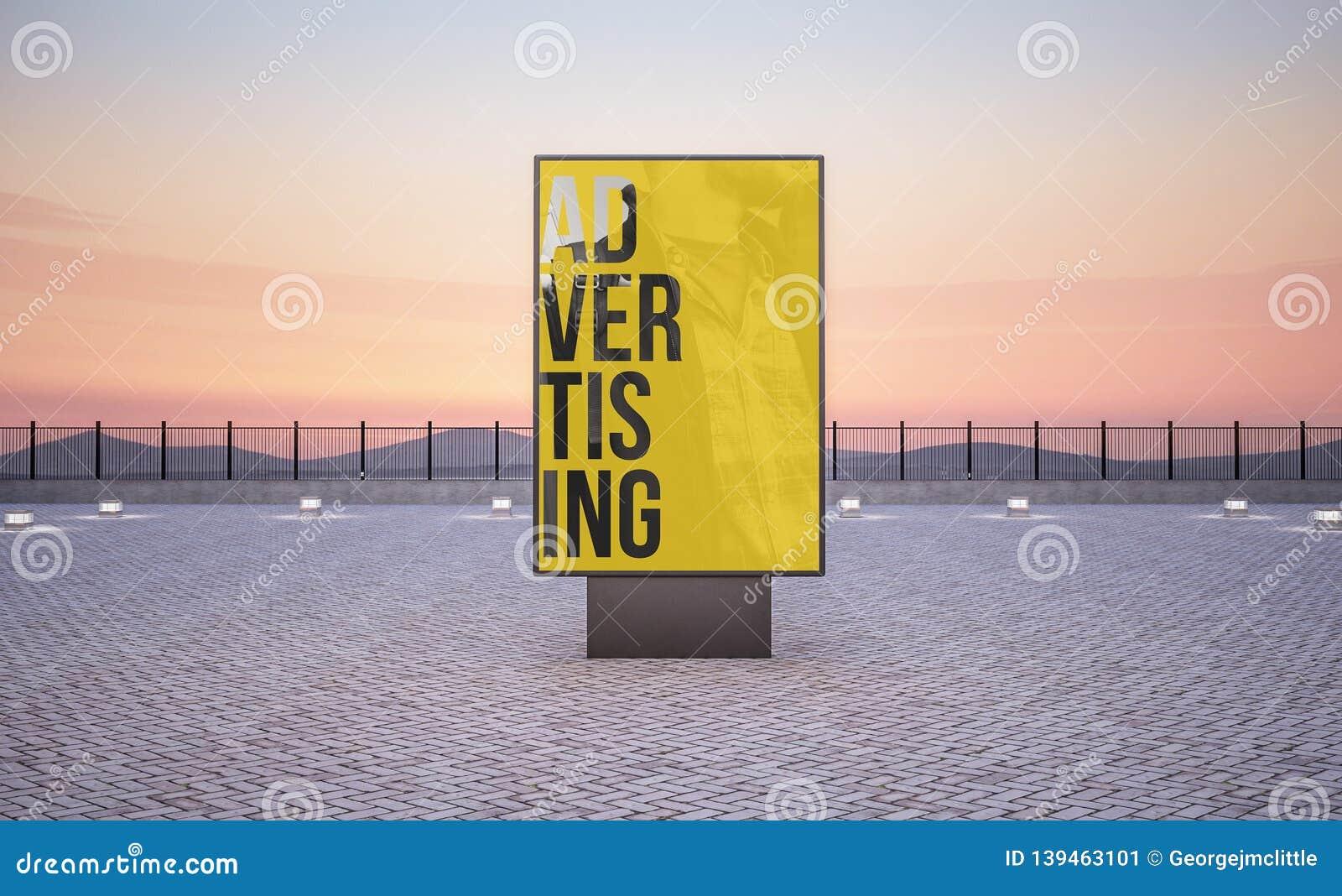 Vertikale Straßenplakatanschlagtafel