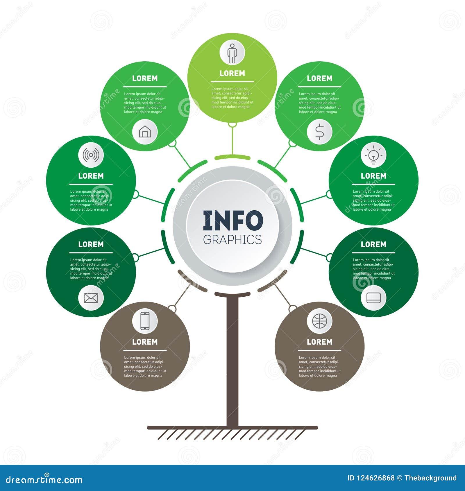 Vertikale Zeitachse Infographics Baum von Entwicklung und von Wachstum O