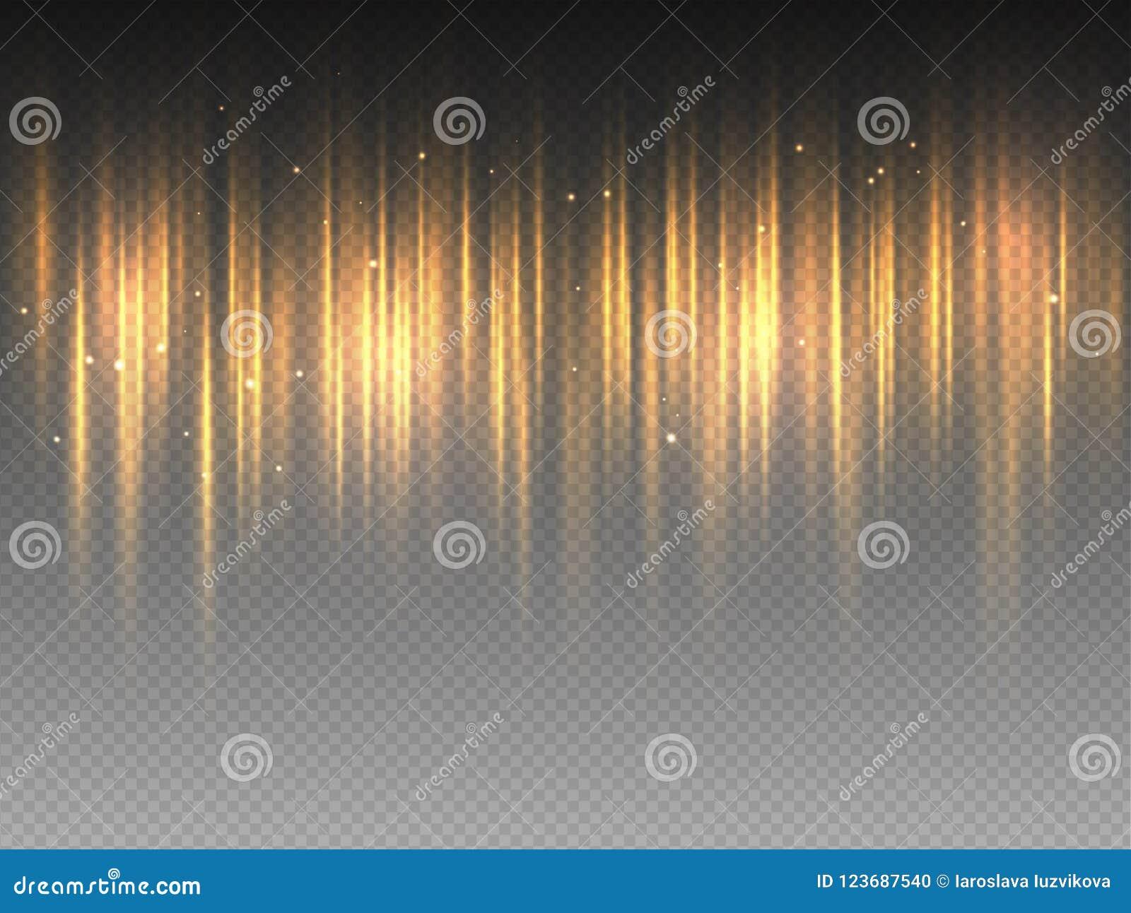 Vertikalt guld- gult strålglansglöd som pulserar strålar på genomskinlig bakgrund Abstrakt illustration för vektor av varm orange