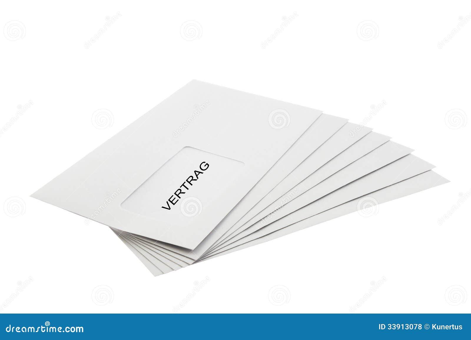 Vertrag Batch Of Envelopes Isolated On White Stock Illustration ...