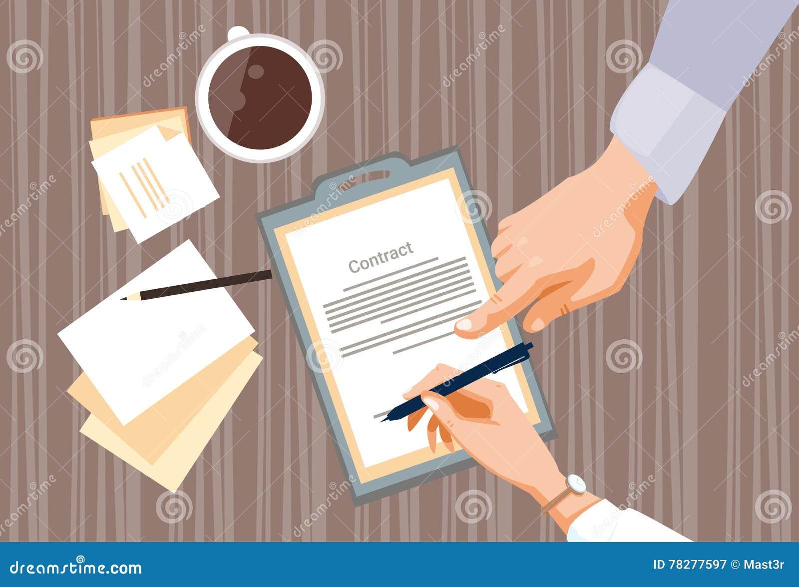 Vertrag melden sich der Papierdokumenten-Geschäftsleute Vereinbarungs-Pen Signature Office Desk an