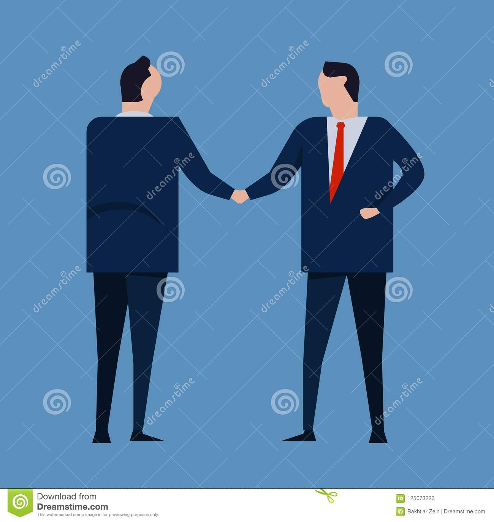Vertragsvereinbarung Geschäftsleute, welche die tragende Reihe des Händedrucks formal stehen Konzeptgeschäftsvektor