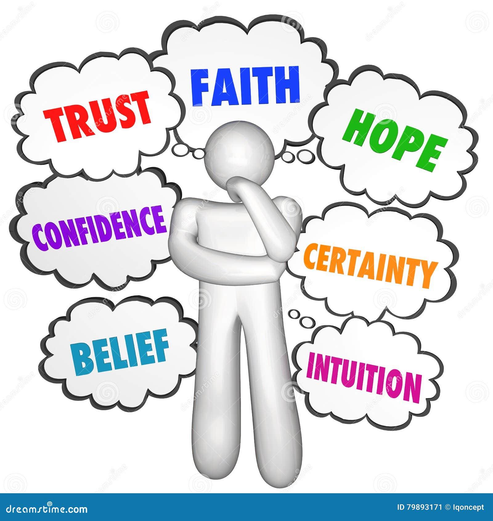 Vertrauens-Glauben-Hoffnungs-Vertrauen, das Person Thought Clouds denkt