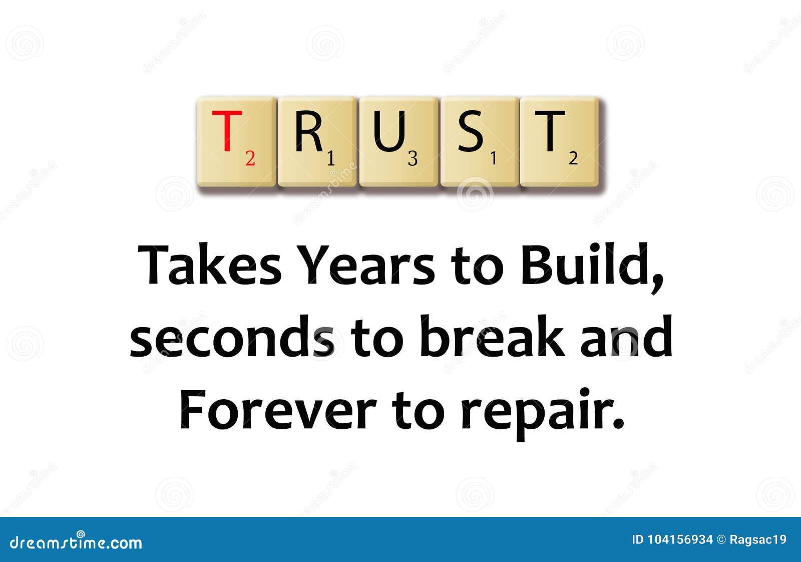 Vertrouwenswoord in een houten illustratieblokken