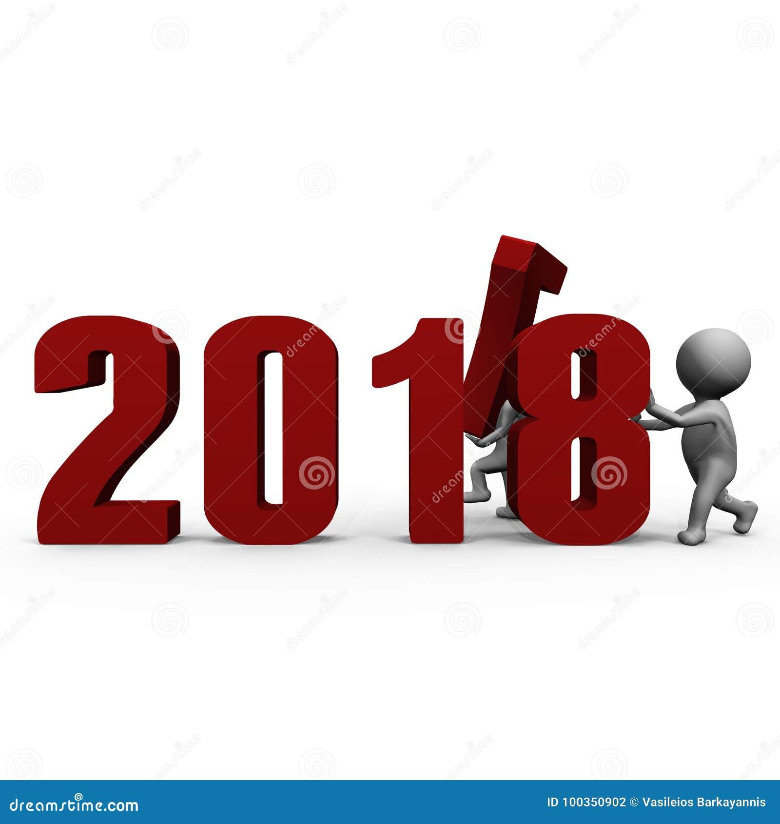 Vervangend aantallen om nieuw jaar 2018 te vormen - een 3d beeld