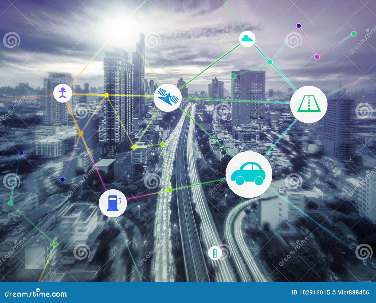 Vervoer en mededeling en Internet bij modern, abstra