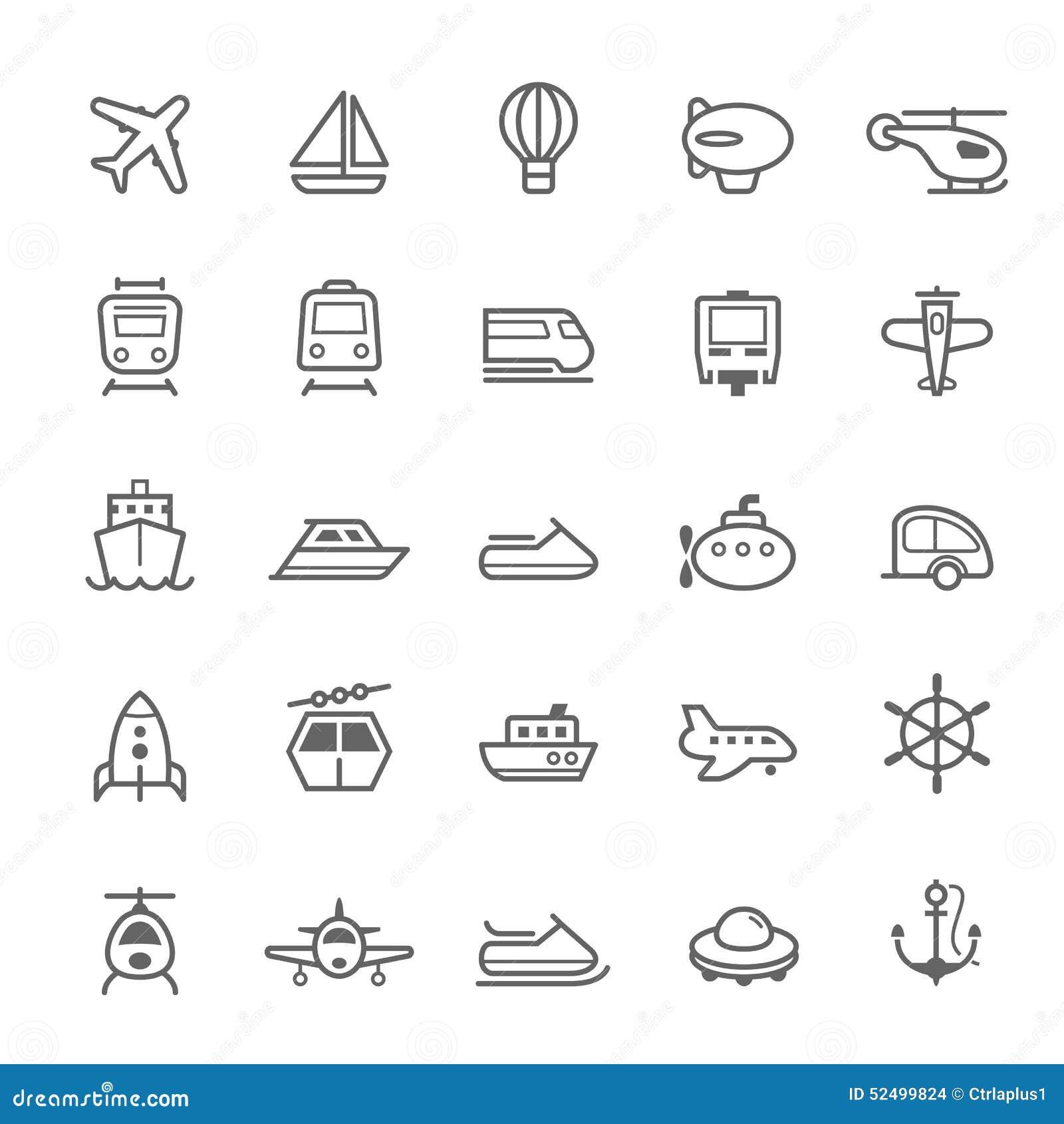 Vervoerpictogrammen op de Witte BackgroundTransport-Slag van het pictogrammenoverzicht op Witte Achtergrond
