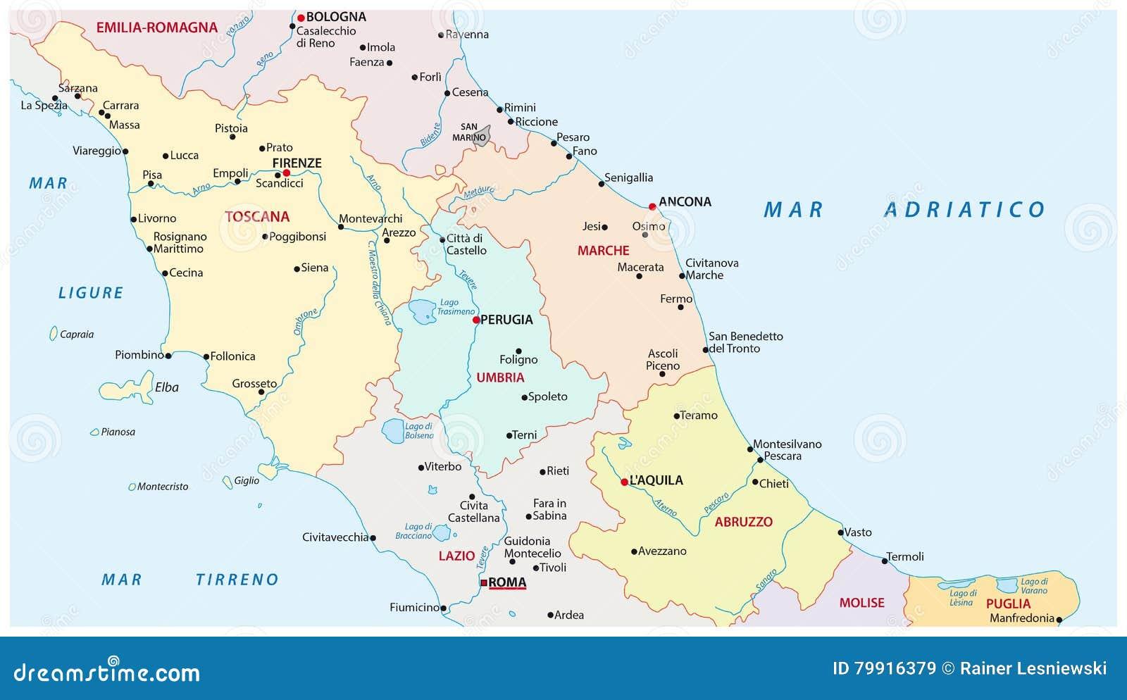 Italien Karte Regionen.Verwaltungs Karte Der Regionen Von Mittel Italien Vektor Abbildung