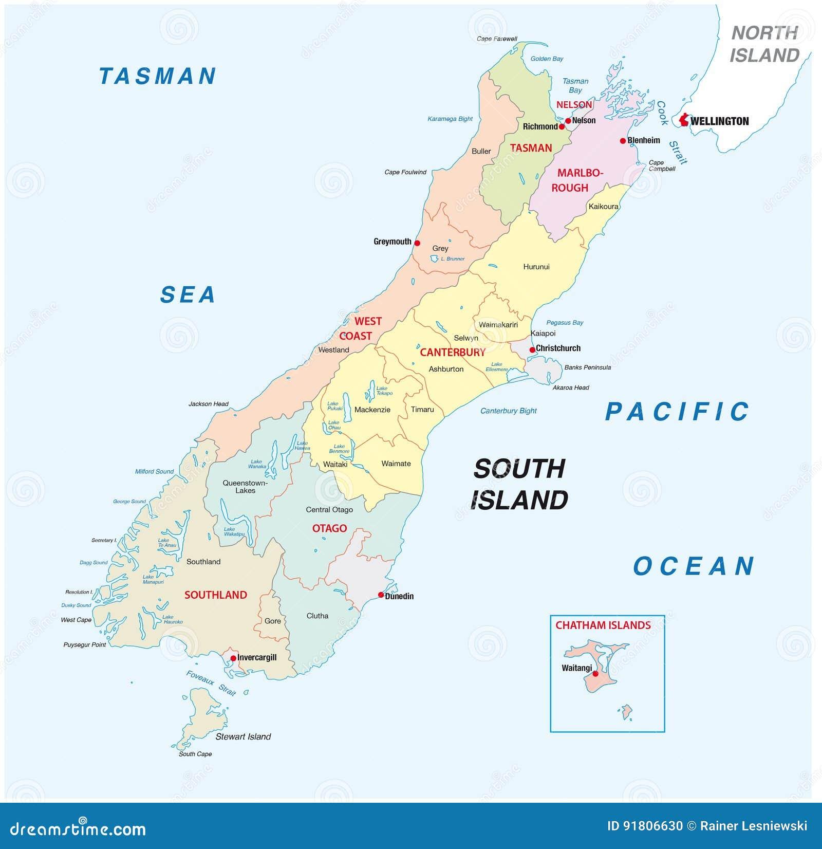 Verwaltungs Und Politische Karte Neuseeland Sudinsel Vektor