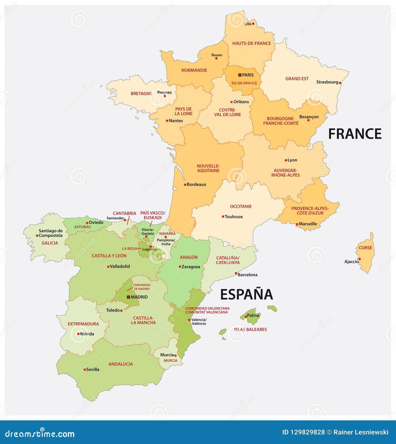 Verwaltungs Und Politische Karte Von Spanien Und Von Frankreich