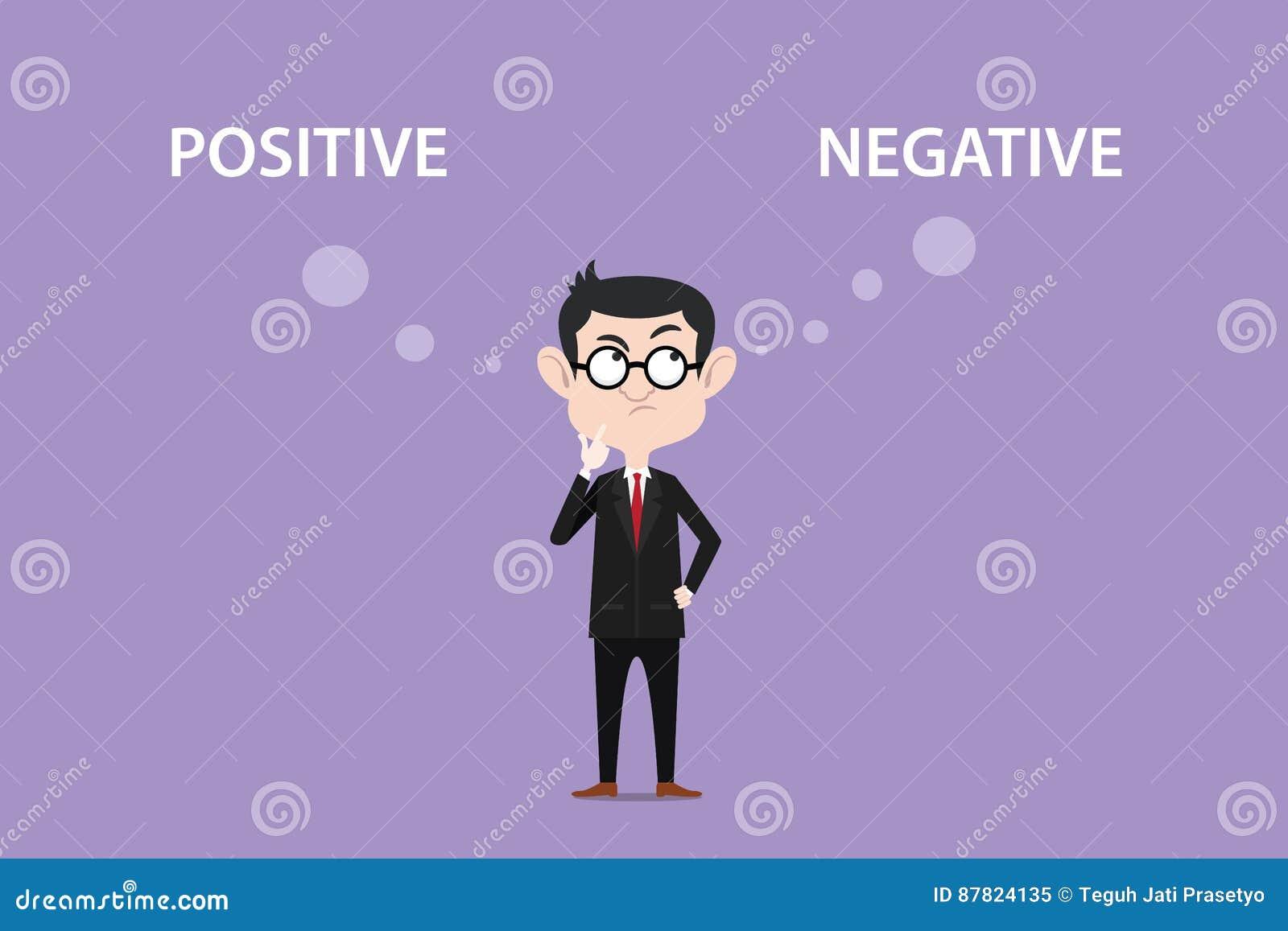 Verwar over positieve negatieve gevolgenillustratie met een mens die zwart kostuum en oogglas dragen en witte teksten bovenop