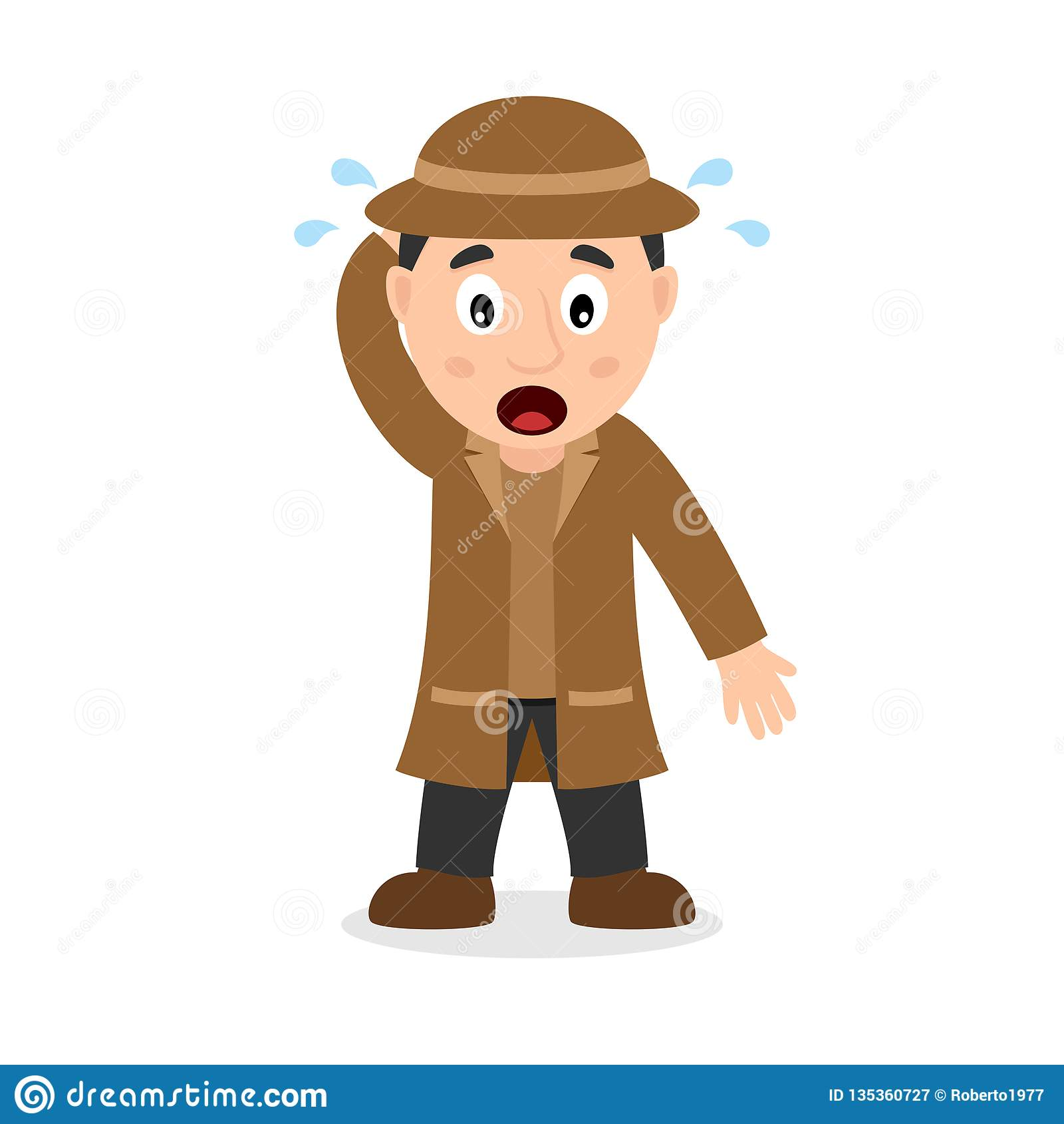 Verwarde Detective Cartoon Character