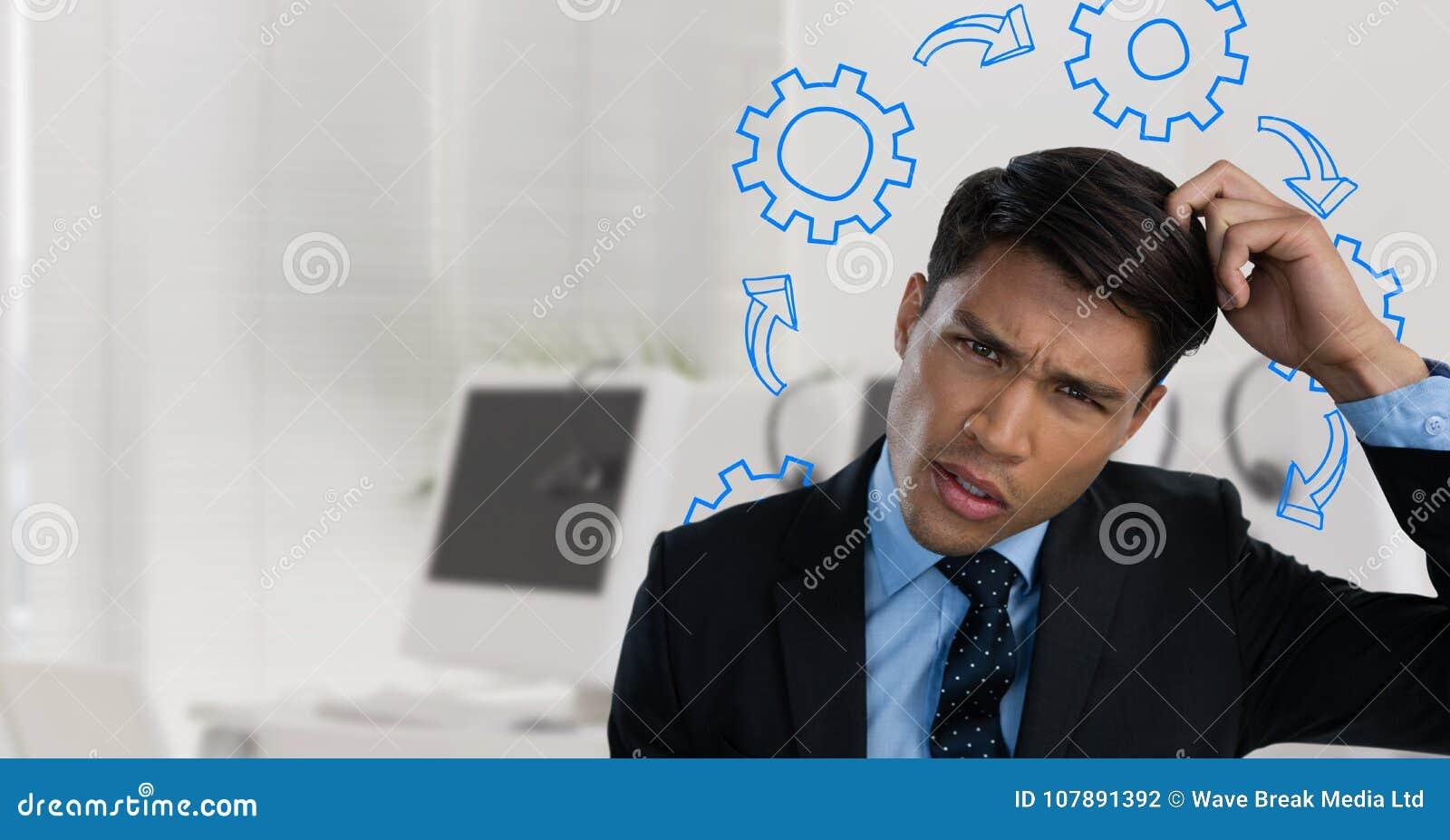 Verwarde mens die zijn die hoofd en fronsen krassen door radertjes wordt omringd