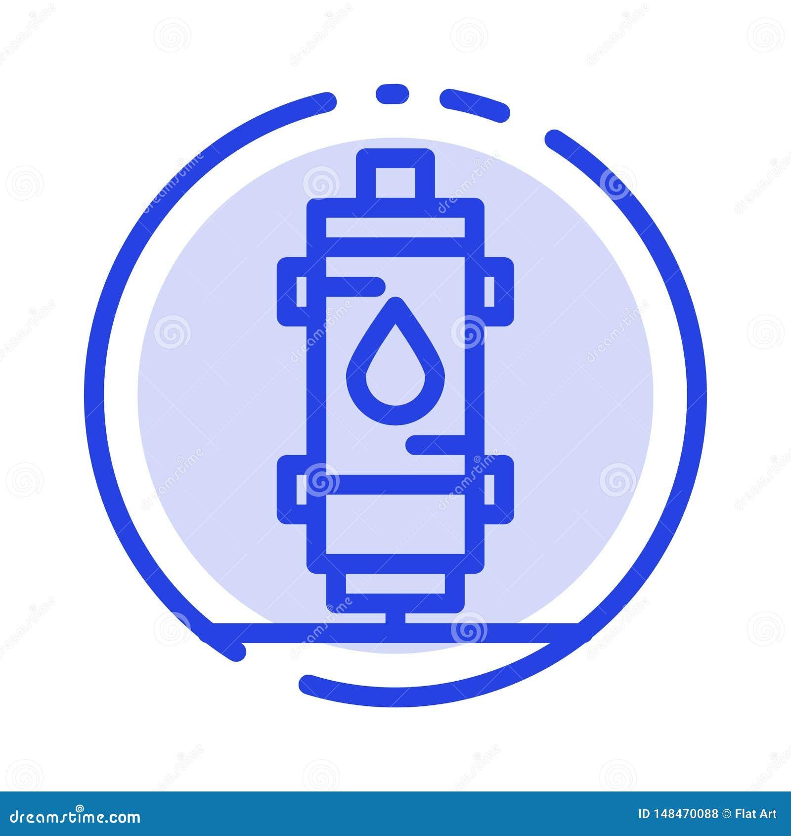 Verwarmer, Water, Hete Hitte, Gas, de Lijnpictogram van de Geiser Blauw Gestippelde Lijn