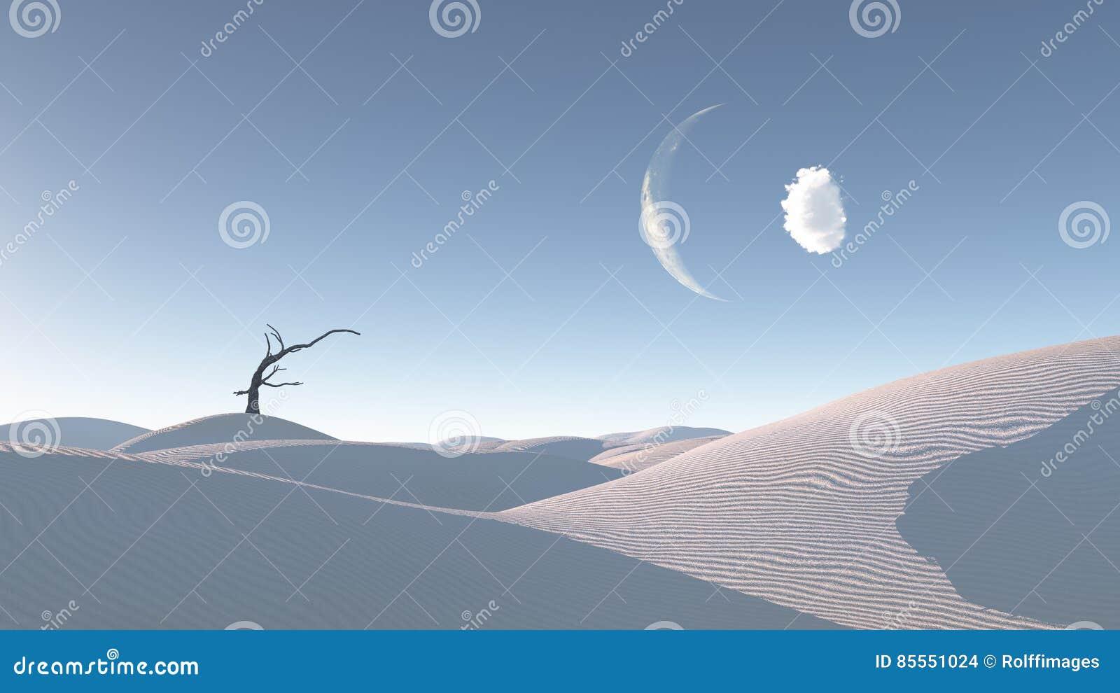 Verwelkter Baum in Zen Desert Landscape