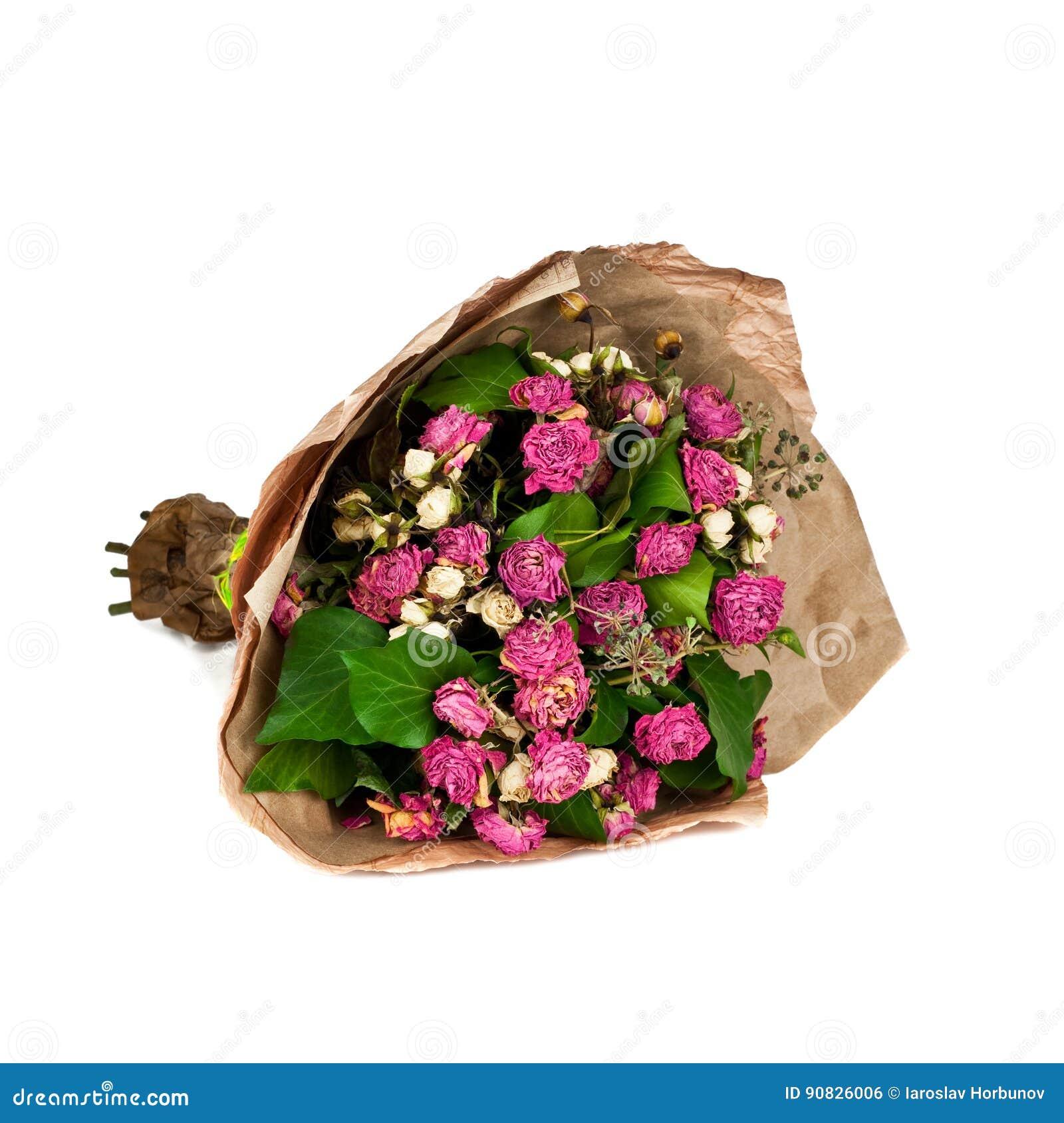 Verwelkter Blumenstrauß von den Blumen lokalisiert auf weißem Hintergrund