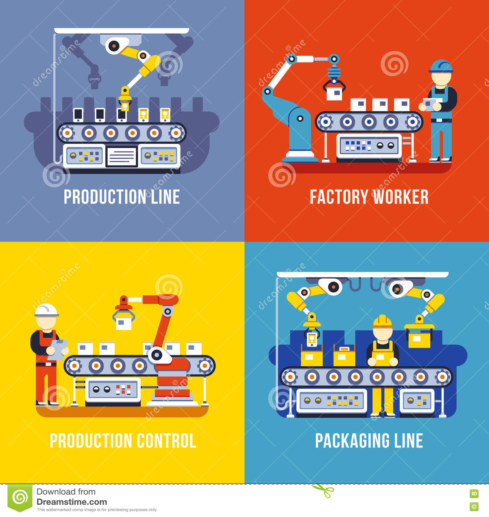 Verwerkende industrie, productielijn, de vector vlakke geplaatste concepten van de fabrieksarbeider