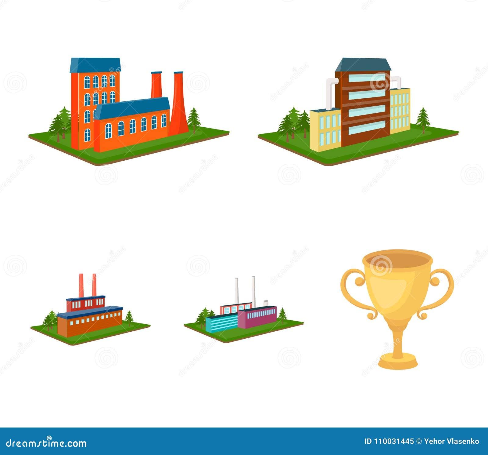 Verwerkingsfabriek, metallurgische installatie Fabriek en de industrie vastgestelde inzamelingspictogrammen in de isometrische ve