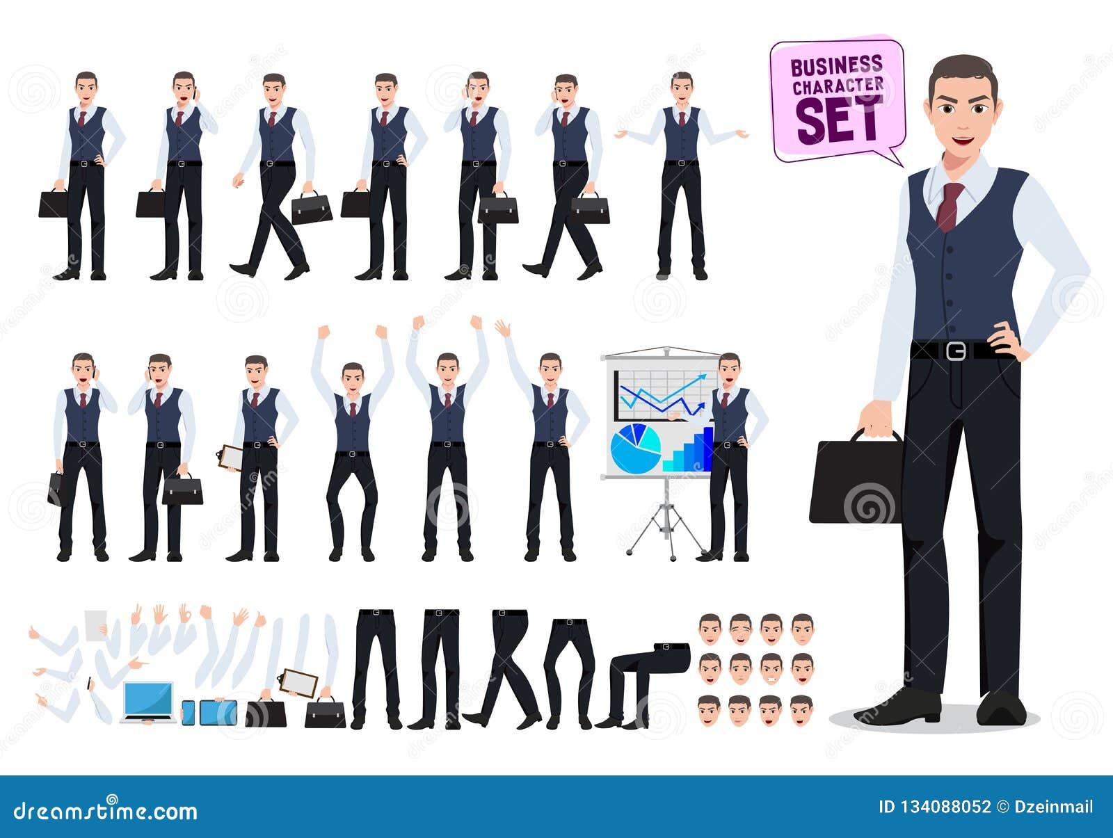 Verwezenlijking van het bedrijfsmensen de vectordiekarakter met de mannelijke aktentas van de beambteholding wordt geplaatst
