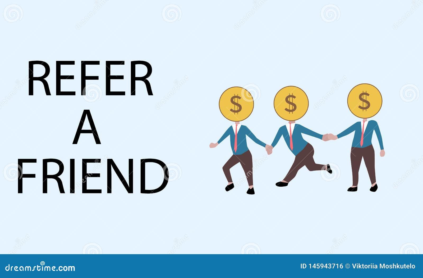 Verwijs een vriend sluiten aan de dollar hoofdmensen zich bij handen