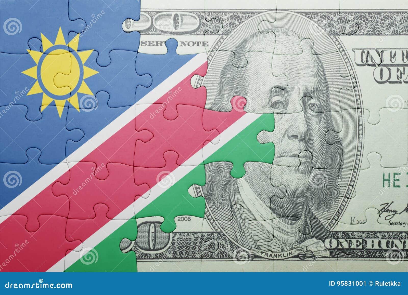 Verwirren Sie mit der Staatsflagge von Namibia- und Dollarbanknote