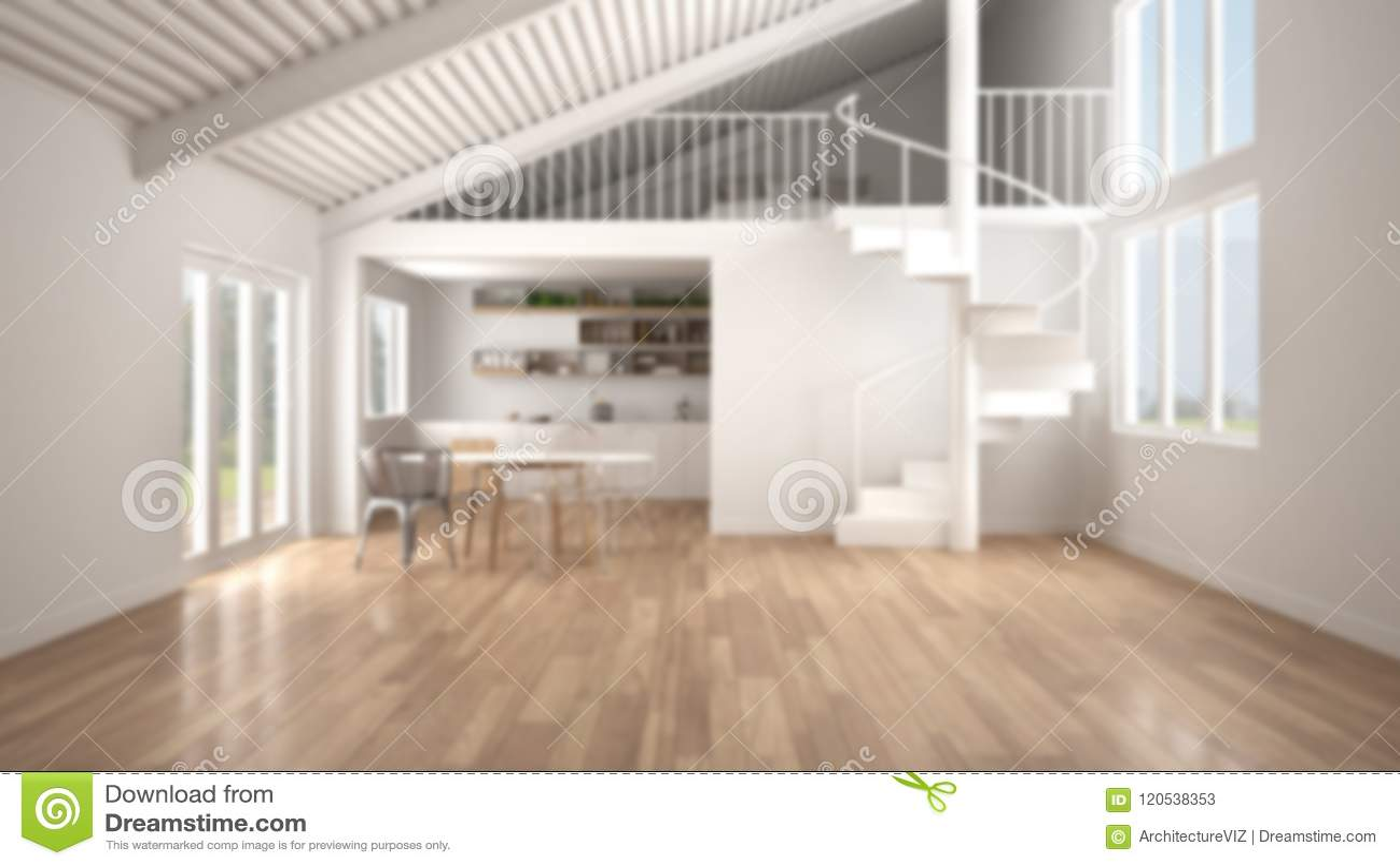 Verwischen Sie Hintergrund, Unbedeutende Weißer Küche Des Raum-, Mit ...