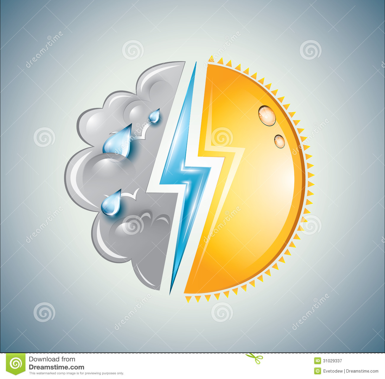 Verwittern Sie Mischung des Sonnen-, Wolken- und Blitzbolzens