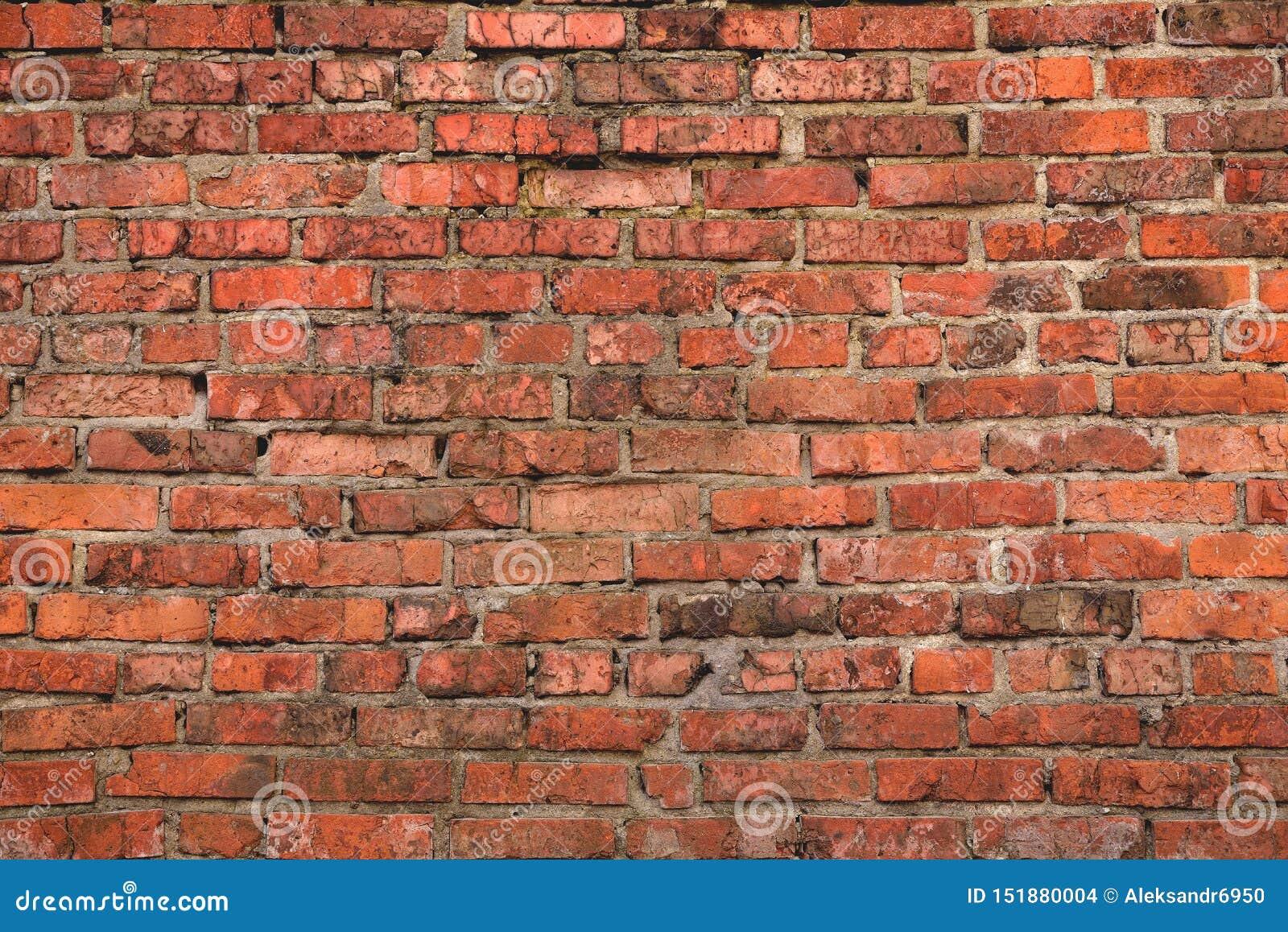 Verwitterte Und Defekte Ziegelsteine Der Alten Backsteinmauer, Hintergrund Stockfoto   Bild von ...