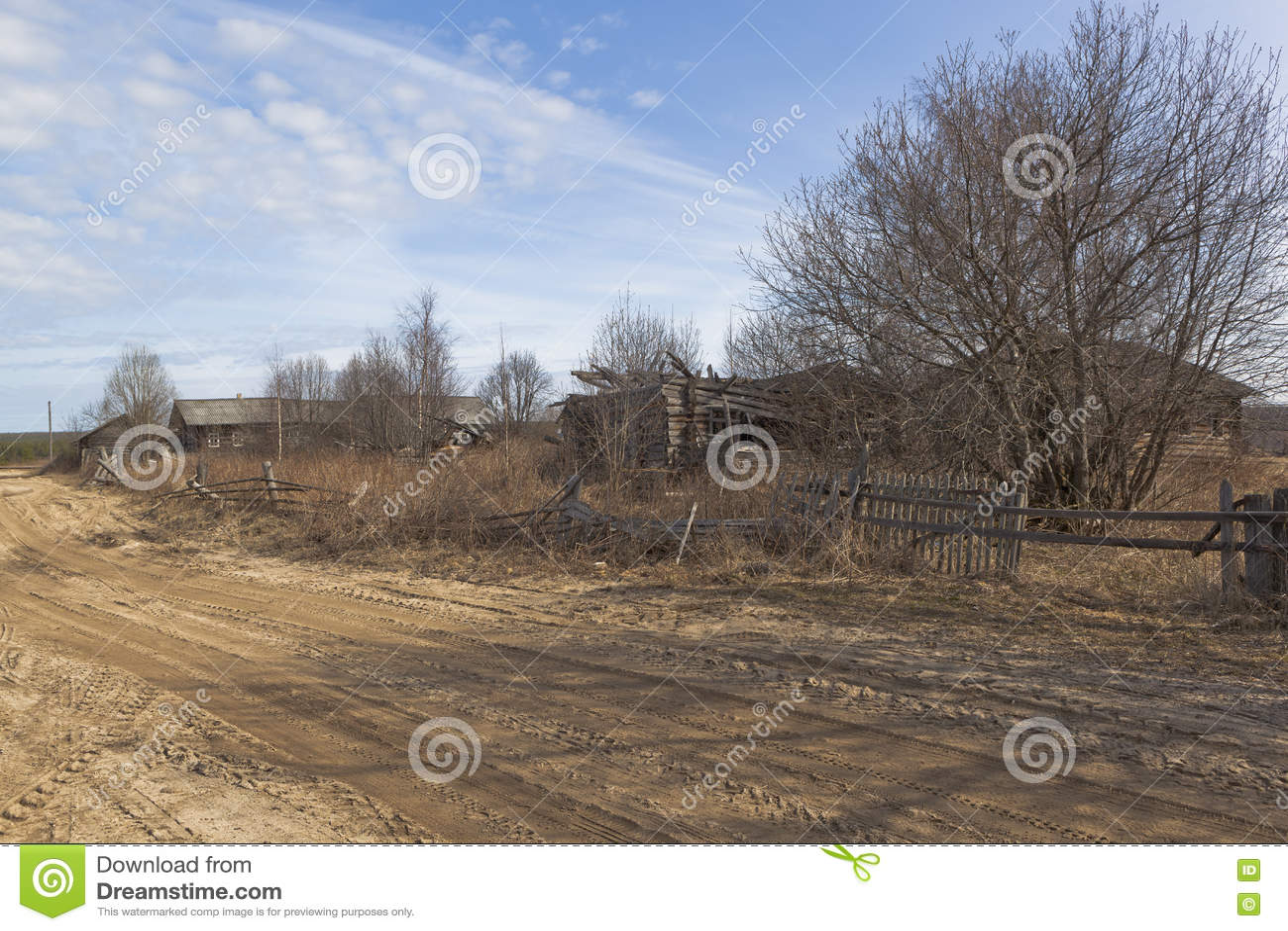 Verwoesting in Russisch dorp