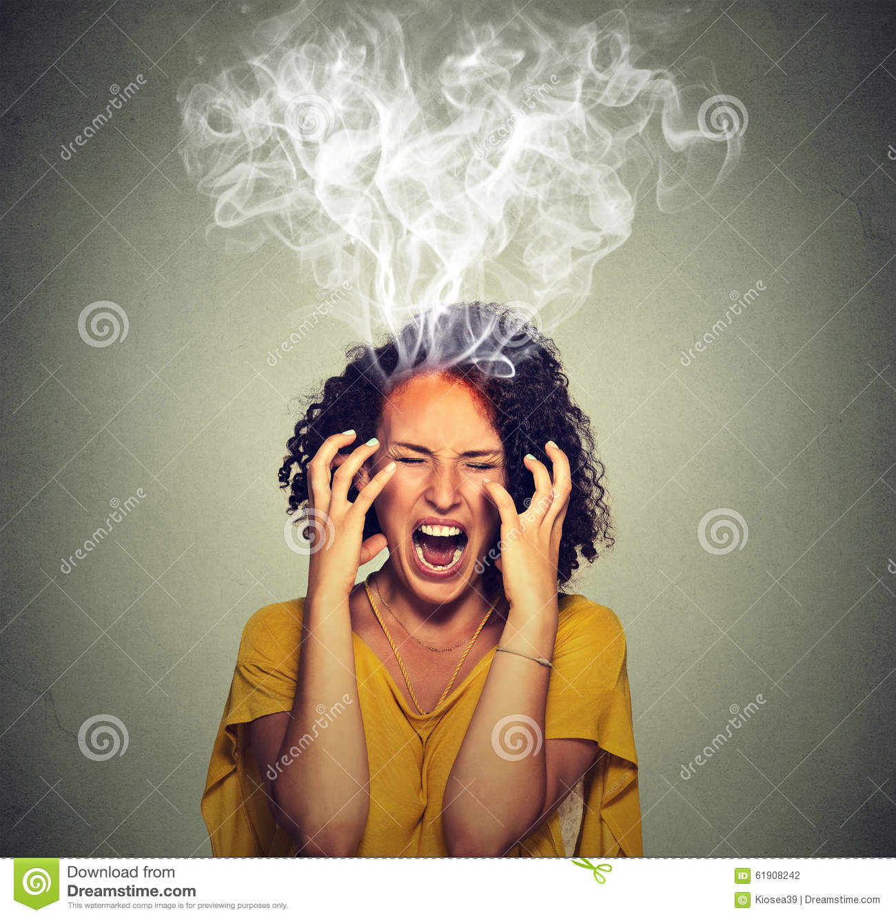 Very angry off woman screaming steam smoke coming out up of head